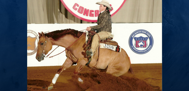 Cindi Rubens and Brennas Pino Rosso exhibiting their money winning form at The All American Quarter Horse Congress Non Pro futurity!