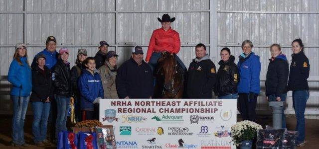 Megan Snyder riding Little Miss Red PinewasReserve Champion at the NRHA Northeast Affiliate Regional Championship in the Limited and Intermediate Non-Pro!