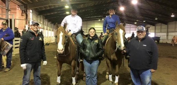 Shannon Snyder riding Fancy Dual Train (right) was third in the Rookie 1 and 2 NRHA Northeast Affiliate Regional Championship!