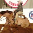 Cindi Rubens and Brennas Pino Rossoexhibitingtheir money winning form at The All American Quarter Horse Congress Non Pro futurity!